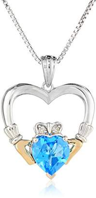 Sterling Silver and 14k Yellow-Gold Blue Topaz Heart and Diamond Claddagh Pendant Necklace