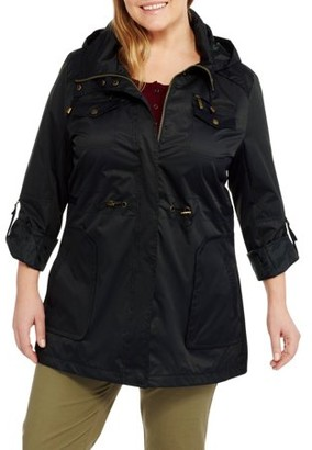 3a85ec9b76a at Walmart.com · Yoki Women s Plus Size Anorak Water Resistant Trench Jacket  With Cinch Waist Adjuster And Removeable Hood