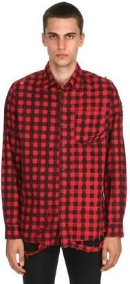 Revolt Destroyed Plaid Flannel Shirt