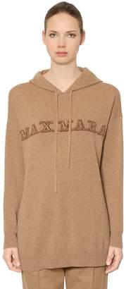 Max Mara Hooded Logo Intarsia Cashmere Sweater