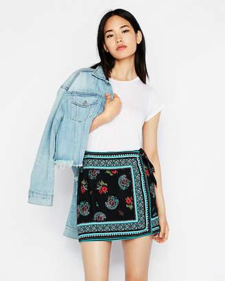 Express Tie Front Wrap Mini Skirt