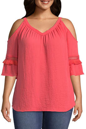Boutique + + 3/4 Sleeve Cold Shoulder Woven Blouse - Plus