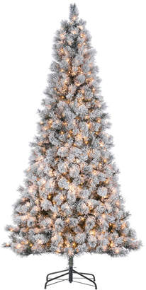 Sterling Tree Company 9Ft. High Flocked Pre-Lit Hard Mixed Needle Boise Pine With Warm White Lights
