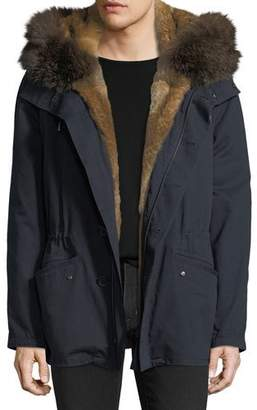 Yves Salomon Men Cotton Jacket w/ Fur Details
