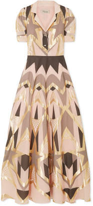 Temperley London Soleil Metallic Fil Coupé Maxi Dress - Beige