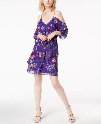 Bar III Printed Cold-Shoulder Dress, Created for Macy's