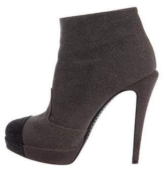 Chanel Cap-Toe Platform Ankle Boots