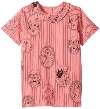 Mini Rodini Fox Family Collar Tee Girl's T Shirt
