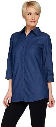 Joan Rivers Classics Collection Joan Rivers Lightweight Denim Boyfriend Shirt w/ Scoop Pockets