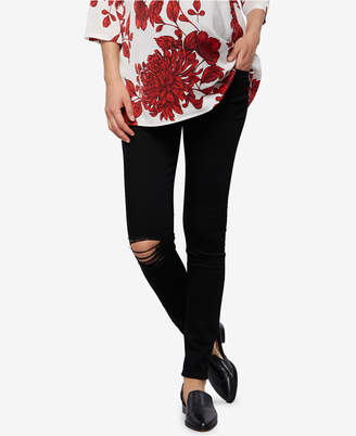 Articles of Society Maternity Distressed Black-Wash Ankle Jeans $88 thestylecure.com