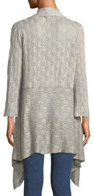Chelsea & Theodore 3/4 Bell-Sleeve Draped Lace Cardigan
