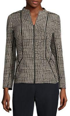 Lafayette 148 New York Kyla Geometric Zip-Front Jacket $598 thestylecure.com