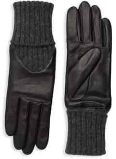 Agnelle Cecelia Leather Knit Gloves