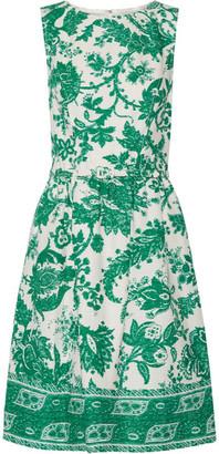 Oscar de la Renta - Belted Printed Stretch-cotton Canvas Dress - Jade $2,190 thestylecure.com