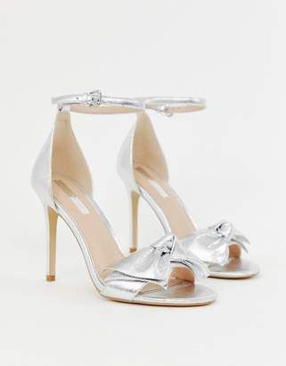 c2c9d6d5216d Miss Selfridge heeled sandals with bow detail in silver