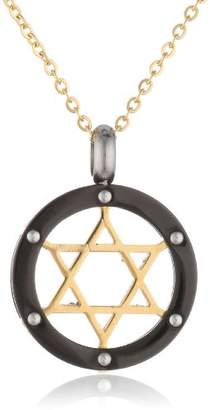 Stainless Steel Men's 18K Gold Plated Star of David Ion-Plated Plated Border Pendant Necklace