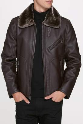 Andrew Marc Lenox Faux Shearling Pilot Jacket