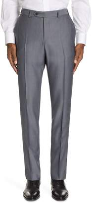 Canali Classic Fit Solid Wool & Mohair Trousers