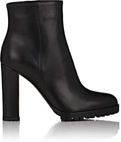 Gianvito Rossi Women's Leather Side-Zip Ankle Boots - Black