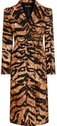 Dolce & Gabbana Tiger-print Cotton-blend Coat - Brown