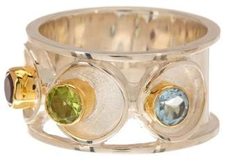 MICHOU Two-Tone Gold Plated Sterling Silver African Amethyst, Peridot, & Sky Blue Topaz Infinity Ring