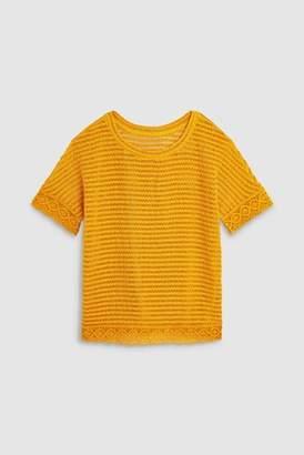 Next Womens Ochre Crochet Knit Look Top