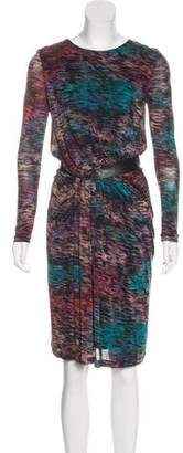 Saloni Printed Leather-Trimmed Dress