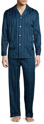 Bonsoir London Tonal-Striped Cotton Pajama Set, Navy $225 thestylecure.com