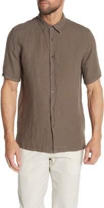 Theory Irving Linen Short Sleeve Trim Fit Sport Shirt