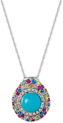 LeVian Le Vian Robin's Egg Turquoise (3-1/10 ct. t.w.) and Multi-Sapphire (1 ct. t.w.) Pendant Necklace in 14k White Gold