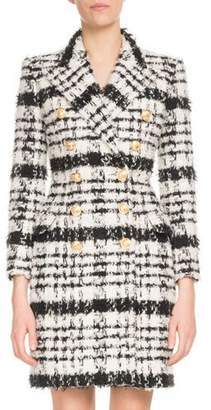 Balmain Double-Breasted Mohair-Tweed Coat