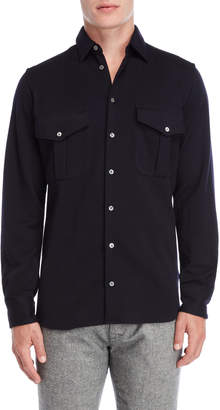 Peuterey Navy Wool Flap Pocket Shirt