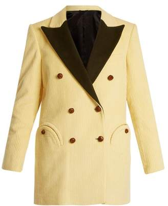 Blazé Milano Blaze Milano - Classic Touch Everyday Velvet Lapel Blazer - Womens - Cream
