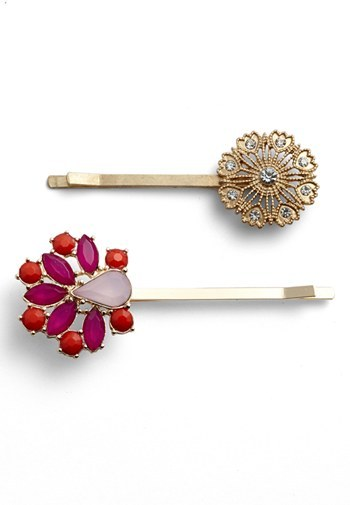 Berry 'Jeweled Floral' Bobby Pins (2-Pack)
