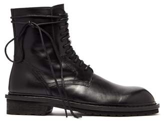 Ann Demeulemeester Lace Up Leather Combat Boots - Mens - Black