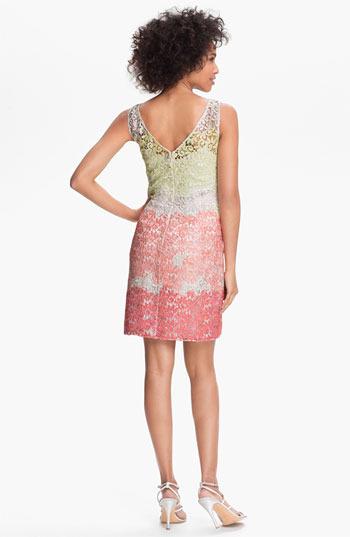 Kay Unger Metallic Lace Sheath Dress