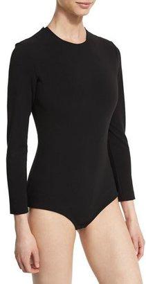 Solace London Keziah Long-Sleeve Jersey Bodysuit, Black $260 thestylecure.com