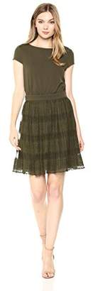Wild Meadow Women's Short Sleeve Two-fer Dress with Pleated Skirt M