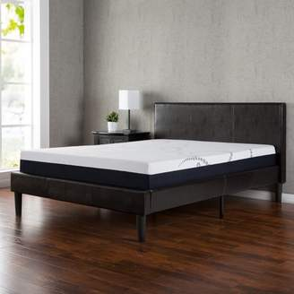 Zinus Twin Faux Leather Platform Bed with Wooden Slats
