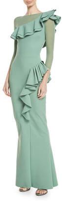 Chiara Boni Maria Chiara Illusion Gown w/ Asymmetric Ruffles