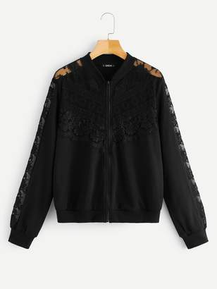 Shein Zip Up Contrast Lace Sheer Bomber Jacket