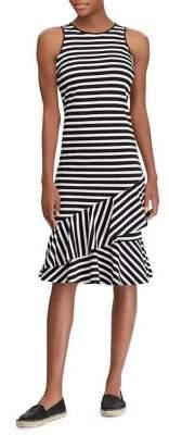 Lauren Ralph Lauren Striped Cascade Ruffle Dress