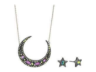 Betsey Johnson Moon Pendant Necklace Star Stud Earrings Set
