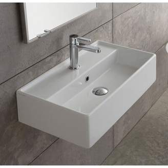 """Nameeks Scarabeo by Teorema Ceramic 16"""" Wall Mount Bathroom Sink with Overflow Scarabeo by"""