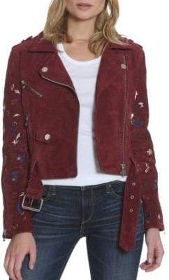 Driftwood Embroidered Leather & Suede Moto Jacket