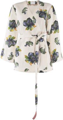 Lake Studio Belted Floral-Print Silk-Blend Top