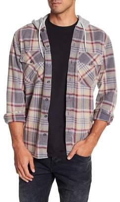 Quiksilver Hooded Plaid Print Regular Fit Shirt Jacket
