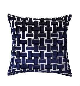 Wedgwood Cush- Lattice Ink Square Cushion