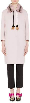 Prada Women's Mink-Fur-Trimmed Wool-Blend Coat