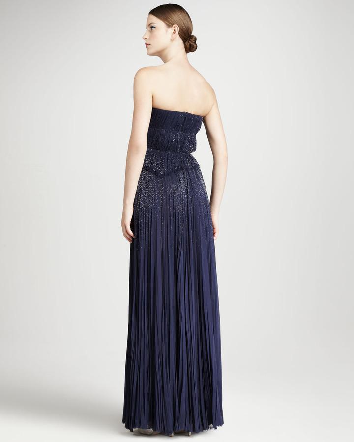 J. Mendel Pleated Strapless Gown, Indigo